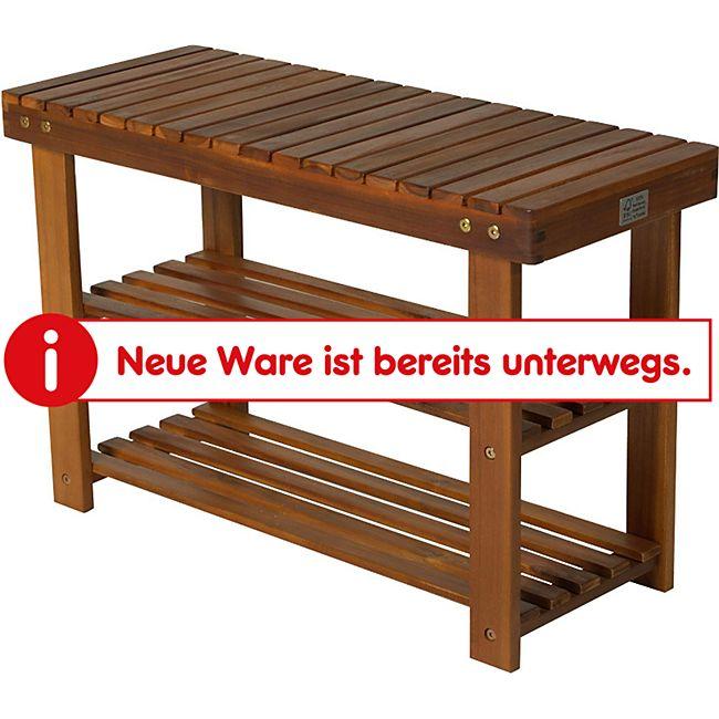 HOMCOM Schuhbank mit 3 Ablagen Teak 70 x 28 x 45 cm (LxBxH)   Schuhschrank Holzregal mit Schuhablage Holzmöbel - Bild 1