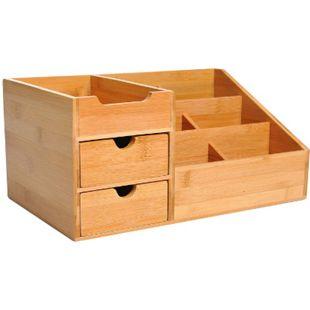 HOMCOM Schreibtischorganizer mit 2 Schubladen natur 33 x 20,5 x 15,5 cm (LxBxH) | Aufbewahrungsbox Büro Organisation Schreibtischbox - Bild 1