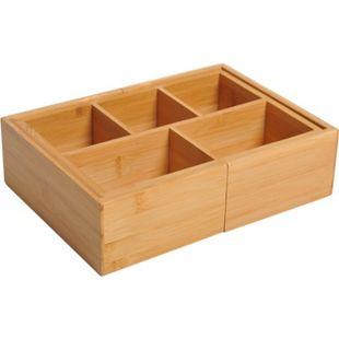HOMCOM Ausziehbarer Organizer mit 5 bis 7 Fächer natur (24,6-41) x 17,6 x 7 cm (LxBxH)   Schubladenorganizer Aufbewahrungsbox Organisation - Bild 1
