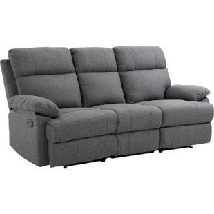 HOMCOM Fernsehsofa als 3-Sitzer dunkelgrau   Relaxsofa mit Liegefunktion Fernsehcouch TV-Sofa - Bild 1