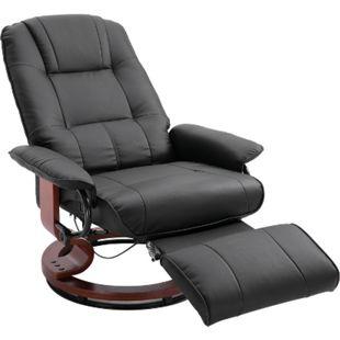 HOMCOM Relaxsessel mit rundem Holzfuß schwarz | Fernsehsessel Liegesessel Relexstuhl mit Fußablage - Bild 1