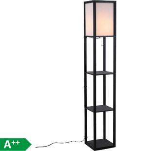 HOMCOM Stehlampe mit Regalen schwarz 26 x 26 x 160 cm (LxBxH) | Wohnzimmerlampe Standleuchte Stehleuchte Lampe - Bild 1