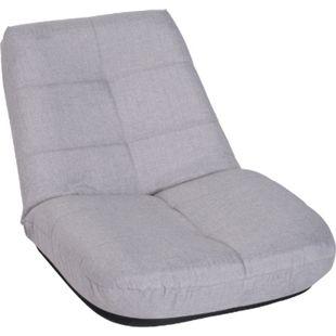 HOMCOM Sitzkissen mit Rückenlehne hellgrau   Bodenstuhl Relaxstuhl Wohnzimmersessel TV-Stuhl - Bild 1