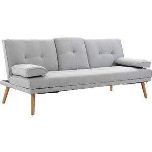 HOMCOM Schlafsofa als 3-Sitzer hellgrau, natur | Sofabett Schlafcouch Fernsehcouch Polstermöbel - Bild 1