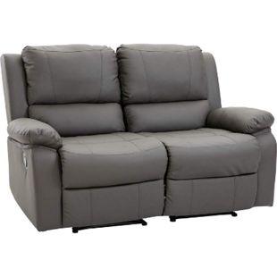 HOMCOM Doppelsofa mit Liegefunktion grau 141,5 x 95 x 94,5 cm (BxTxH) | Relaxsofa Fernsehsofa Fernsehcouch TV-Sofa - Bild 1