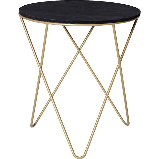 HOMCOM Beistelltisch mit schwarzer Holzplatte schwarz/gold 43 x 48 cm (ØxH) | Wohnzimmertisch Nachttisch Kaffeetisch Couchtisch - Bild 1
