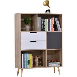 HOMCOM Standregal mit 2 Schubladen natur, weiß/grau 90 x 30 x 120 cm (BxTxH) | Highboard Wohnzimmerregal Bücherregal Büroregal - Bild 1