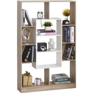 HOMCOM Bücherregal natur, weiß 95 x 22 x 150 cm (BxTxH) | Regal Standregal Aufbewahrungsregal Büroregal - Bild 1