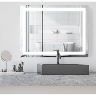 HOMCOM LED Lichtspiegel silber 60 x 80 x 4 cm (BxLxH) | Spiegel Badspiegel Wandspiegel Badezimmerspiegel - Bild 1