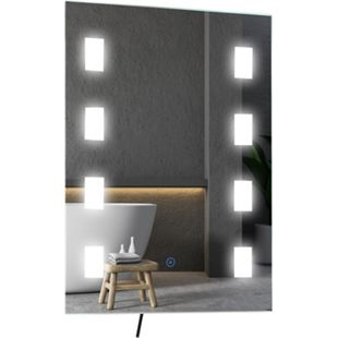HOMCOM Badezimmerspiegel mit LED Beleuchtung silber 50 x 4 x 70 cm (BxTxH) | Spiegel Wandspiegel LED-Badspiegel LED-Spiegel - Bild 1