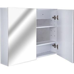 HOMCOM Badspiegelschrank zur Wandmontage weiß 15 x 80 x 60 cm (LxBxH) | Badspiegel Spiegel Schrank Badezimmerspiegel - Bild 1