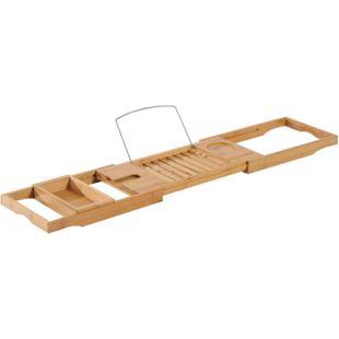 HOMCOM Badewannentablett natur 75-109 x 23,5 x 4 cm (LxBxH) (ohne Staufach) | Badewannenablage Badewannenbrücke Wannenauflage - Bild 1
