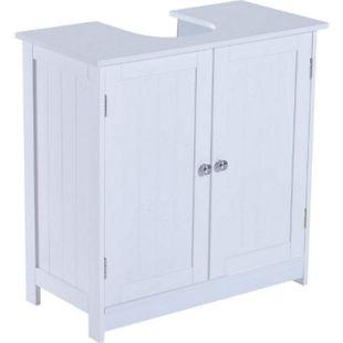 HOMCOM Waschbeckenunterschrank weiß 60 x 30 x 60 cm (LxBxH)   Badezimmerschrank Waschtischunterschrank Unterschrank - Bild 1