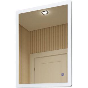 kleankin Badezimmerspiegel mit Beleuchtung silber 60 x 4 x 80 cm (BxTxH) | Wandspiegel Badspiegel Spiegel Badezimmermöbel - Bild 1