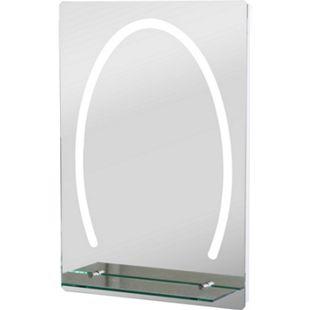 kleankin LED Badspiegel mit Glas-Ablage silber 50 x 4 x 70 cm (LxBxH) | Badezimmerspiegel Schminkspiegel Kosmetikspiegel - Bild 1