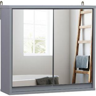 HOMCOM Spiegelschrank grau 14,5 x 48 x 45 cm (LxBxH) | Badschrank Hängeschrank Badmöbel Badspiegel - Bild 1