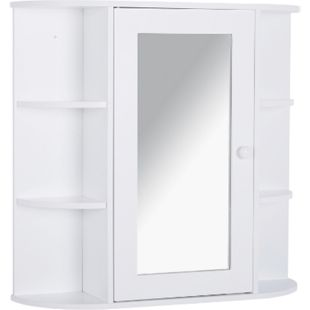 HOMCOM Spiegelschrank weiß 66 x 17 x 63 cm (BxTxH) | Badezimmerregal Badeschrank Hängeschrank Badmöbel - Bild 1
