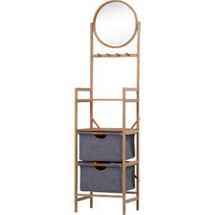 HOMCOM Badezimmerregal mit Spiegel natur 41 x 33 x 166 cm (LxBxH)   Standregal Badregal mit 2 Schubladen Bambusregal - Bild 1