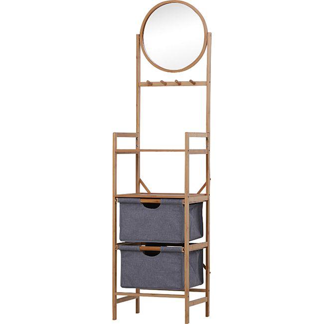HOMCOM Badezimmerregal mit Spiegel natur 41 x 33 x 166 cm (LxBxH) | Standregal Badregal mit 2 Schubladen Bambusregal - Bild 1