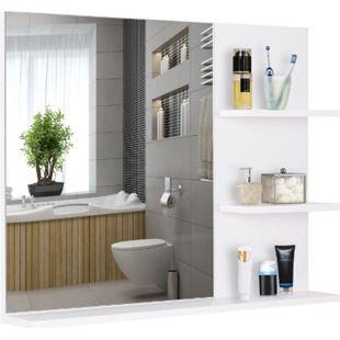 kleankin Badspiegel mit 3 Ablagen weiß 60 x 10 x 48 cm (BxTxH) | Wandspiegel Badezimmerspiegel Spiegel - Bild 1