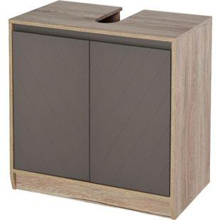 HOMCOM Waschbeckenunterschrank mit 2 Türen Eiche, grau 60 x 30 x 59,8 cm (BxTxH)   Badezimmerschrank Badschrank Waschtischunterschrank - Bild 1
