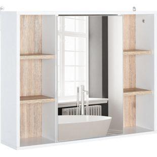 HOMCOM Spiegelschrank mit 6 Regalfächern weiß, natur 60 x 14,5 x 49,4 cm (BxTxH) | Badschrank Hängeschrank Wandschrank Badspiegel - Bild 1