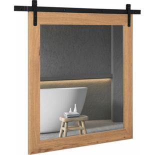HOMCOM Badezimmerspiegel mit Gleitschiene natur, schwarz 84 x 2 x 74 cm (BxTxH) | Wandspiegel Spiegel Badspiegel Schminkspiegel - Bild 1