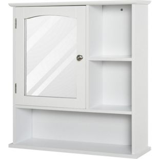 HOMCOM Badezimmerschrank mit Spiegeltür weiß 60 x 18 x 63 cm (BxTxH) | Spiegelschrank Badschrank Hängeschrank Bademöbel - Bild 1