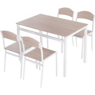 HOMCOM Sitzgruppe als 5-teiliges Set natur, weiß   Esstischgruppe Essgruppe Küchentisch mit Stühlen - Bild 1