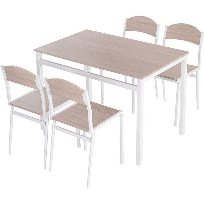 HOMCOM Sitzgruppe als 5-teiliges Set natur, weiß | Esstischgruppe Essgruppe Küchentisch mit Stühlen - Bild 1