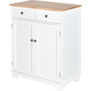 HOMCOM Küchenschrank mit zwei Schubladen weiß, natur 68 x 40,3 x 85 cm (BxTxH) | Standschrank Küchenmöbel Aufbewahrungsschrank - Bild 1