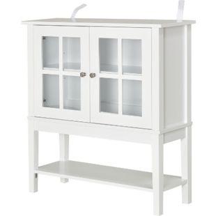 HOMCOM Küchenschrank mit 2 Glastüren weiß 80 x 28 x 84 cm (BxTxH) | Vitrinenschrank Standschrank Geschirrschrank - Bild 1