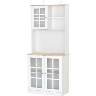 HOMCOM Küchenschrank mit Arbeitsplatte weiß, natur 80 x 37 x 183 cm (LxBxH) | Geschirrschrank Esszimmerschrank Hochschrank Schrank - Bild 1