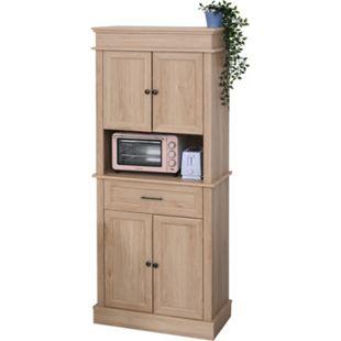 HOMCOM Küchenschrank mit Schublade Eiche 74 x 39,5 x 183 cm (BxTxH)   Wohnzimmerschrank Hochschrank Aufbewahrungsschrank - Bild 1