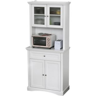 HOMCOM Küchenschrank mit Schublade weiß 79 x 40 x 180 cm (BxTxH)   Wohnzimmerschrank Hochschrank Aufbewahrungsschrank - Bild 1
