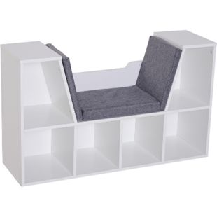 HOMCOM Bücherregal mit Sitzbank weiß, grau 102 x 30 x 61 cm (BxTxH) | Standregal Holzregal Wandregal mit Sitzkissen - Bild 1