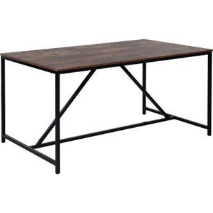 HOMCOM Schreibtisch im industriellen Stil braun, schwarz 160,5 x 90 x 76,5 cm (LxBxH)   Bürotisch Arbeitstisch Computertisch PC-Tisch - Bild 1