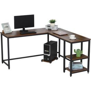 HOMCOM Computertisch in L-Form Walnuss, schwarz 150 x 150 x 76 cm (LxBxH) | Schreibtisch Bürotisch Gamingtisch PC-Tisch - Bild 1