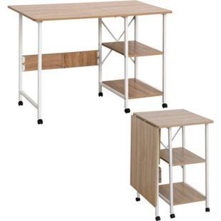 HOMCOM Schreibtisch einklappbar und auf Rollen natur, weiß 107 x 55 x 76 cm (LxBxH) | Klapptisch Bürotisch Computertisch PC-Tisch - Bild 1