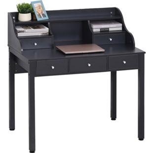 HOMCOM Schreibtisch mit Schubladen dunkelgrau 100 x 60 x 105 cm (BxTxH) | Computertisch Bürotisch Arbeitstisch Sekretär Tisch - Bild 1