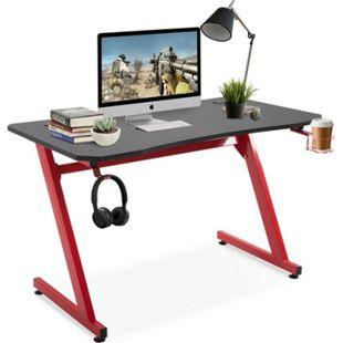 HOMCOM Gamingtisch mit Getränkehalter schwarz, rot 120 x 65 x 74,5 cm (LxBxH) | Schreibtisch Bürotisch PC-Tisch Computertisch - Bild 1