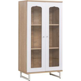 HOMCOM Bücherschrank mit Glastüren Eiche, weiß 60 x 36 x 120 cm (BxTxH)   Aktenschrank Büroschrank Mehrzweckschrank Highboard - Bild 1