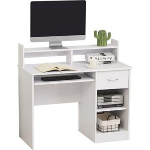 HOMCOM Computertisch mit Schublade weiß 104 x 48 x 95,5 cm (BxTxH) | Schreibtisch Bürotisch Arbeitstisch Büromöbel - Bild 1