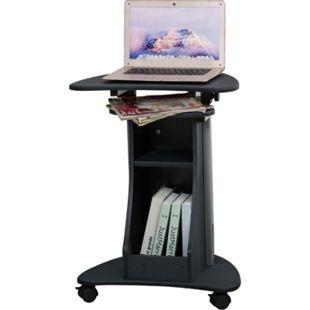 HOMCOM Laptoptisch mit Rollen und Ablagefläche schwarz 54 x 40 x 80-115 (BxTxH) | Laptoppult Computertisch Arbeitstisch Büromöbel - Bild 1
