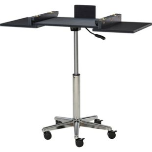 HOMCOM Laptoptisch mit Rollen schwarz, silber 53/90,5 x 36 x 65-90 cm (BxTxH) | Laptoppult Computertisch Arbeitstisch Büromöbel - Bild 1