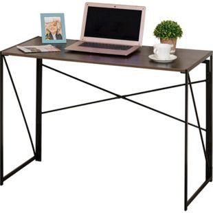 HOMCOM Schreibtisch klappbar schwarz, braun 100 x 50 x 72,5 cm (BxTxH) | Arbeitstisch Computertisch Bürotisch PC Tisch - Bild 1