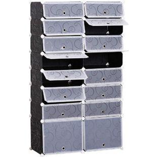 HOMCOM Schuhschrank mit Stecksystem schwarz, weiß 37 x 95 x 160 cm (LxBxH) | DIY Schuhregal mit 16 Fächer Garderobenschrank - Bild 1
