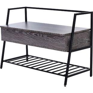 HOMCOM Schuhregal mit 2 Staufächer schwarz, grau 90 x 39 x 61,7cm (LxBxH) | Schuhbank Sitzbank mit Schuhablage Aufbewahrungsbank - Bild 1