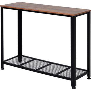 HOMCOM Konsolentisch mit Gitterablage braun, schwarz 101 x 35 x 80 cm (BxTxH) | Flurkommode Beistelltisch Wohmzimmertisch Tisch - Bild 1