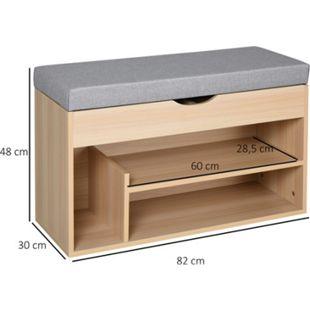 HOMCOM Schuhbank mit Polsterkissen und Schublade natur, grau 80 x 30 x 48 cm (BxTxH)   Sitzbank mit Schuhablage Aufbewahrungsbank Polsterbank - Bild 1